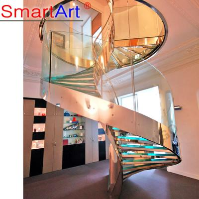 Economic Toughened Glass Curved Staircase
