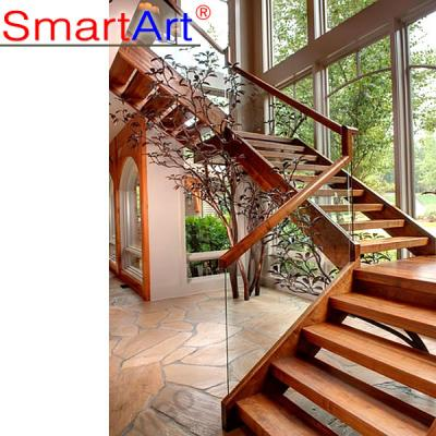 Double stringer staircase tempered glass staircase steel staircase hot...