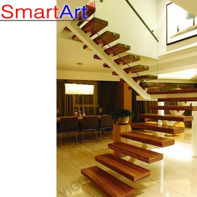 Elegant Solid Wood Single Stringer Staircase