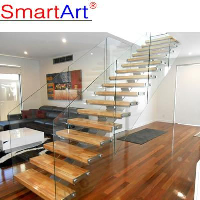 Home Design Beech Wood Single Beam Staircase