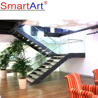 Double stringer staircase glass staircase steel staircase