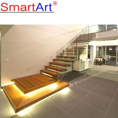 Floating glass staircase frameless glass staircase popular abroad