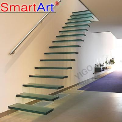 Glass staircase stainless steel staircase modern indoor staircase rail...