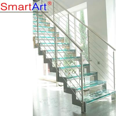 Stainless steel staircase tempered glass railing staircase modern styl...