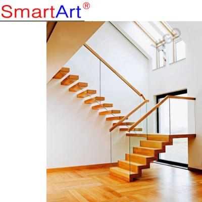Wood glass staircase Oak staircase frameless glass staircase hot sale