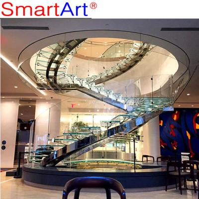 Stainless steel staircase glass staircase design