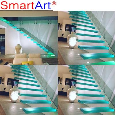 Simple design indoor glass staircase railing tempered glass staircase