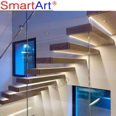 Stainless steel straight glass staircase popular style