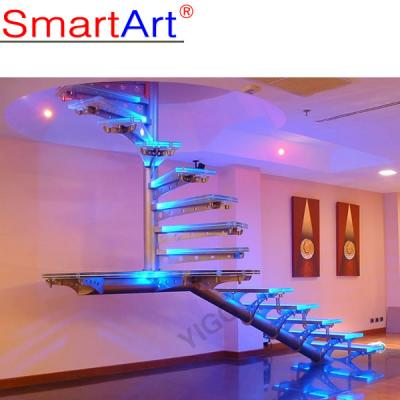 Modern House Tempered Glass Rotating Staircase