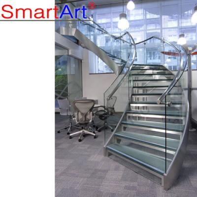 Stainless steel curved stair,glass curved stair desgin ,steel stair